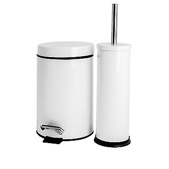 Bathroom Pedal Bin (3 Litres) and Toilet Brush Set - White Finish
