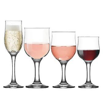 LAV Nevakar Pequeñas / Medias / Grandes Copas de Vino + Flautas de Champán - Set de 24 Goblets Stemware
