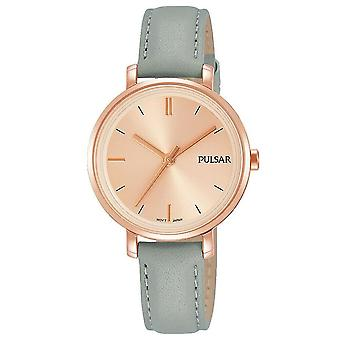 Pulsar Ladies Grey Leather Strap With Rose Gold Dial 50M Watch (Model. PH8366X1)