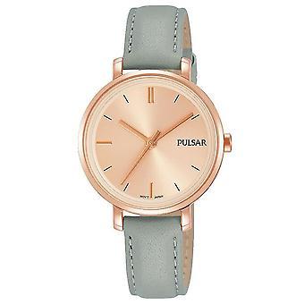 Correa de cuero gris Pulsar señoras con reloj de 50M de marcación de oro rosa (modelo. PH8366X1)