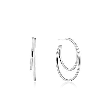 Ania Haie Ear We Go Rhodium Crescent Hoop Earrings E023-10H