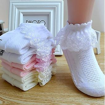 Breathable Cotton Lace Ruffle Princess Mesh Socks Children Ankle Short White Pink Yellow Baby Girls Kids Toddler