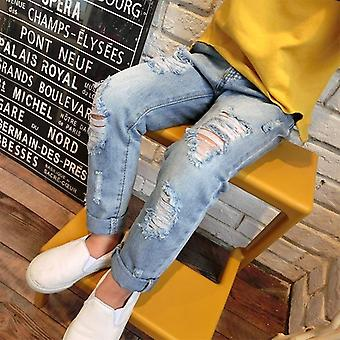 Children Ripped Hole Jeans Broken Denim Trousers For Baby,