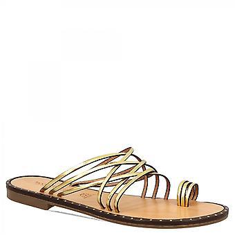 ليوناردو أحذية المرأة & apos;ق أزياء محلية مسطحة thong الصنادل الشريحة في جلد العجل الذهبي الملونة