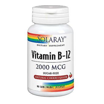 "Solaray ויטמין B-12, 2,000 מק""ג, דובדבן 90 לכסניות"