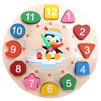 Cartoon Shape Number Matching Puzzels Houten Kralen Digitale Klok, Geometrisch