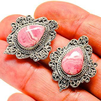 """Rhodochrosite Örhängen 1 1/4"""" (925 Sterling Silver) - Handgjorda Boho Vintage Smycken EARR407405"""
