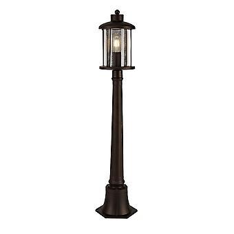 Ophelia Single Headed Post Lamp, 1 X E27, Antique Bronze/clear Glass, Ip54, 2yrs Warranty