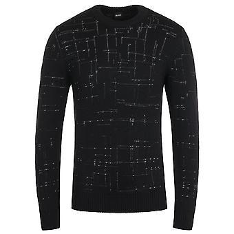 BOSS Dimondo Knitted Crew Neck Black Sweater