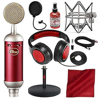 Blue spark sl large-diaphragm studio condenser microphone with xpix studio desktop mic stand, pop filter, closed-back headphones, and deluxe bundle