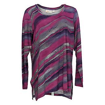 Belle por Kim Gravel Women's Top Watertown Stripe Long Sleeve Purple A383469