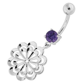 Purple Crystal Stone Fancy Plain Celtic Flower Dangling Sterling Silver Belly Bars Piercing