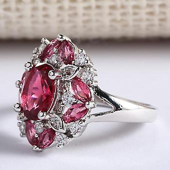 Gorgeous Large Oval Red Stone Ring Luxury Filled Cz Weddings Rings Engagement