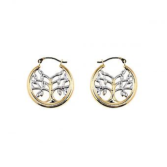 Eternity 9ct Yellow And White Gold 20mm Tree Of Life Boucles d'oreilles créoles