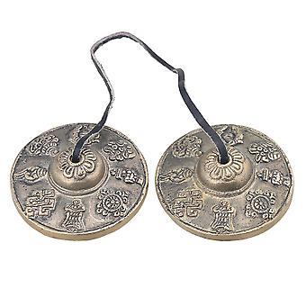 Brass Color Eight Auspicious Symbol Tibetan Tingsha Cymbals Bell