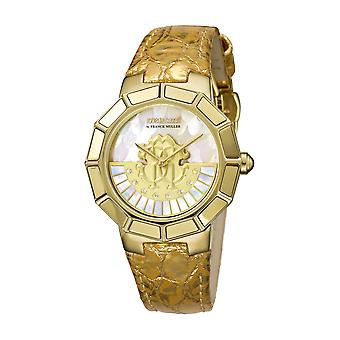 Roberto Cavalli RV2L011L0036 Gold leather strap watch with white MOP dial Watch