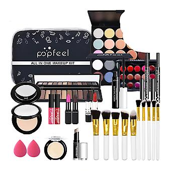 Eyeshadow, Lip Gloss, Lipstick, Makeup Brushes And Concealer With Makeup Bag