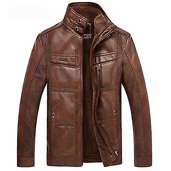 Leather Jacket Men Coats, Pu Outerwear, Winter Faux