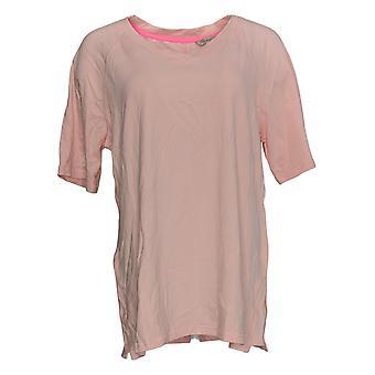 Isaac Mizrahi Live! Women's Top SOHO V-Neck Elbow-Sleeve Knit Pink A365198