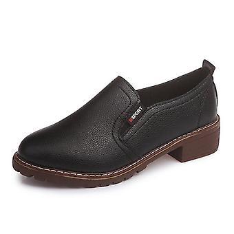 Litteät & pyöreät kengät, toe Pitsi-up Oxford Kengät Nainen Aito Nahka Brogue Naiset