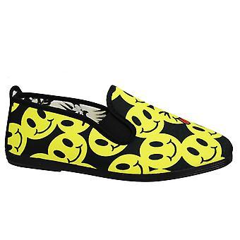 Estilo hilo dental smiley print Unisex Espadrille Slip On Plimsolls Shoes 55319 Negro