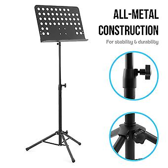 Tiger mus7-bk orchestral music stand, all metal construction fully adjustable sheet music stand –