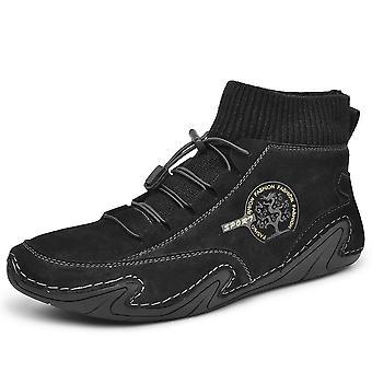 Hombres High Top Zapatos Casual 8898 Negro