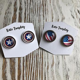 Boucles d'oreilles américaines patriotiques 12mm Stud