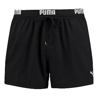 Puma Logo Short Length Swim Shorts - Black