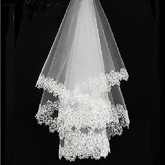 One Layered, Embroidered Lace Bridal Veils