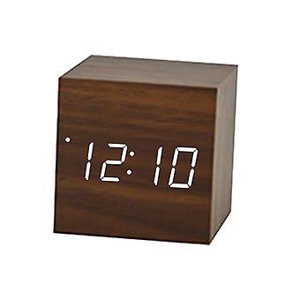 Creative Voice Control Led Clock, Luminous Square, Wooden, Alarm Silent,