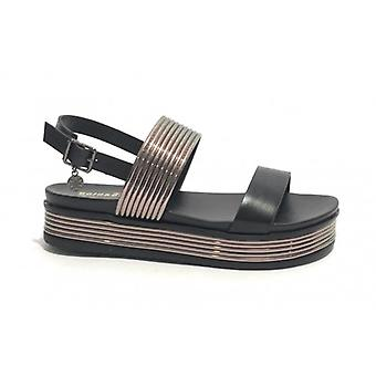 Gold Platform Sandal &Gold Wedge Tc 45 In Black Faux Leather/ Silver Woman Ds19gg56