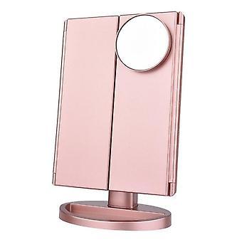 Portátil 3 led plegable luz táctil atenuación lámpara de maquillaje de escritorio espejo cosmético