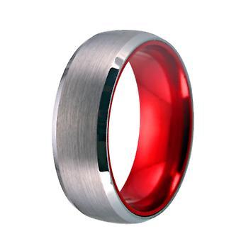 تنغستن فضة خاتم الزفاف الأحمر