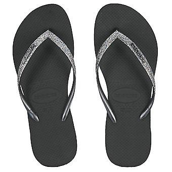 Havaianas Slim Glitter II Flip Flops - Black / Dark Metal