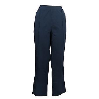 Susan Graver Women's Pants Cotton Spandex Slim-Leg Pull-On Blue A384274