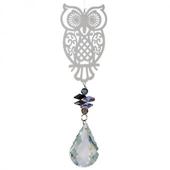 windspinner Magic Owl 40 cm Glas silber