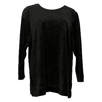 Denim & Co. Women's Petite Top Velour Long-Sleeve Tunic Black A390300