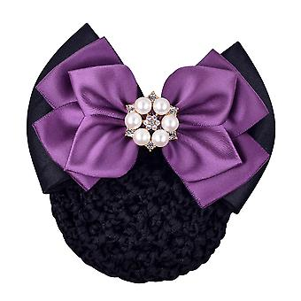 Women Bow Barrette Satin Hair Band Hairpin Ribbon Bow With Net