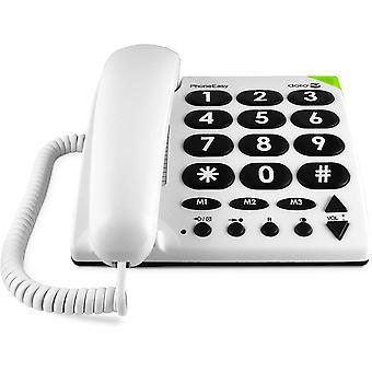 FengChun PhoneEasy 311c, Schnurgebundenes Grotastentelefon mit optischer Anrufsignalisierung, wei