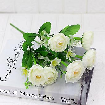 5pcs flor artificial gran camelia seca flor seca falso regalo de flores para las mujeres