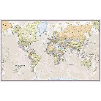 Medium Classic World Map (Pappers laminering på en sida)