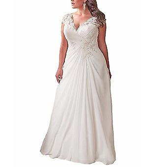 Beach Chiffon Wedding Dresses Cap Sleeves