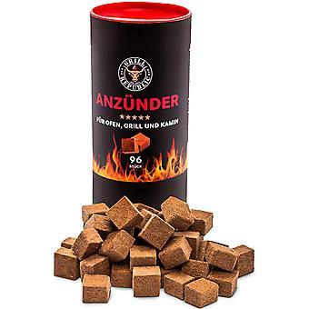 Grill-Anzünder Ökologische Anzündwürfel aus Holz und Wachs mit extra Langer Brenndauer   Geruchlos