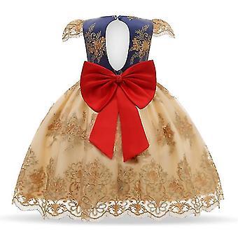 90Cm žlté detské formálne oblečenie elegantné party flitre tutu krstné šaty svadobné narodeninové šaty pre dievčatá fa1873