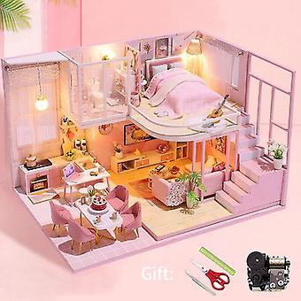 Diy miniature dollhouse kit doll house furniture handmade model room box toys for children christmas gift wooden house for adult