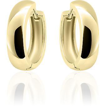 Gisser Jewels - Örhängen - Örhängen - Halv sfär slät med gångjärn - 5mm Bred - 22mmØ - Gult guld pläterat Silver 925