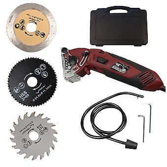 1 Set Multifunction Mini Saw Practical Metal Cutting Machine Electric Power Chainsaw Sharpener Woodworking Tools (220v  Plug Saw With 3pcs Saw Blade)