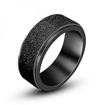 Personalized Fashion Rotatable Rings Black-plated Frosted Fashion Men's Ring Bracelet Sa498