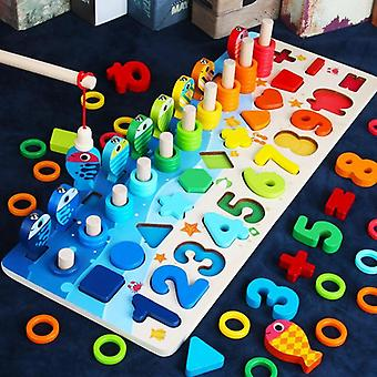 Educational Wooden Toys For Kids Board Math Fishing Count Numbers Matching Digital Shape  Toys